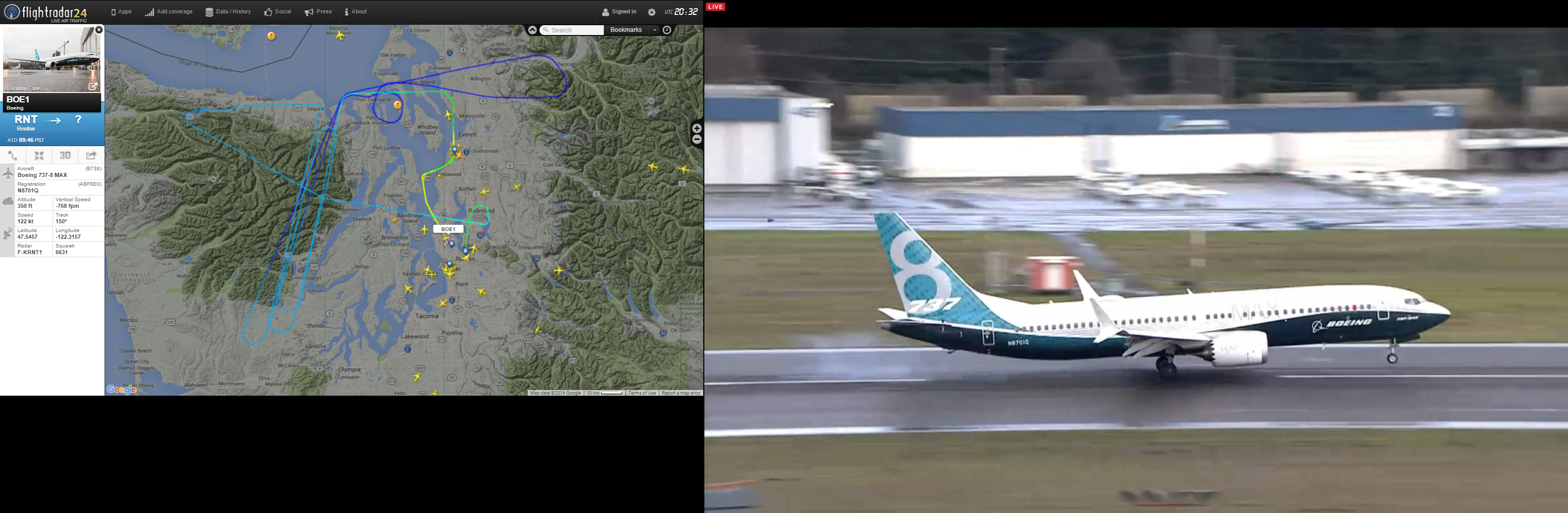 Boeing 737 MAX First Flight (January 29, 2016): FlightRadar24.com Track and Live Stream Landing